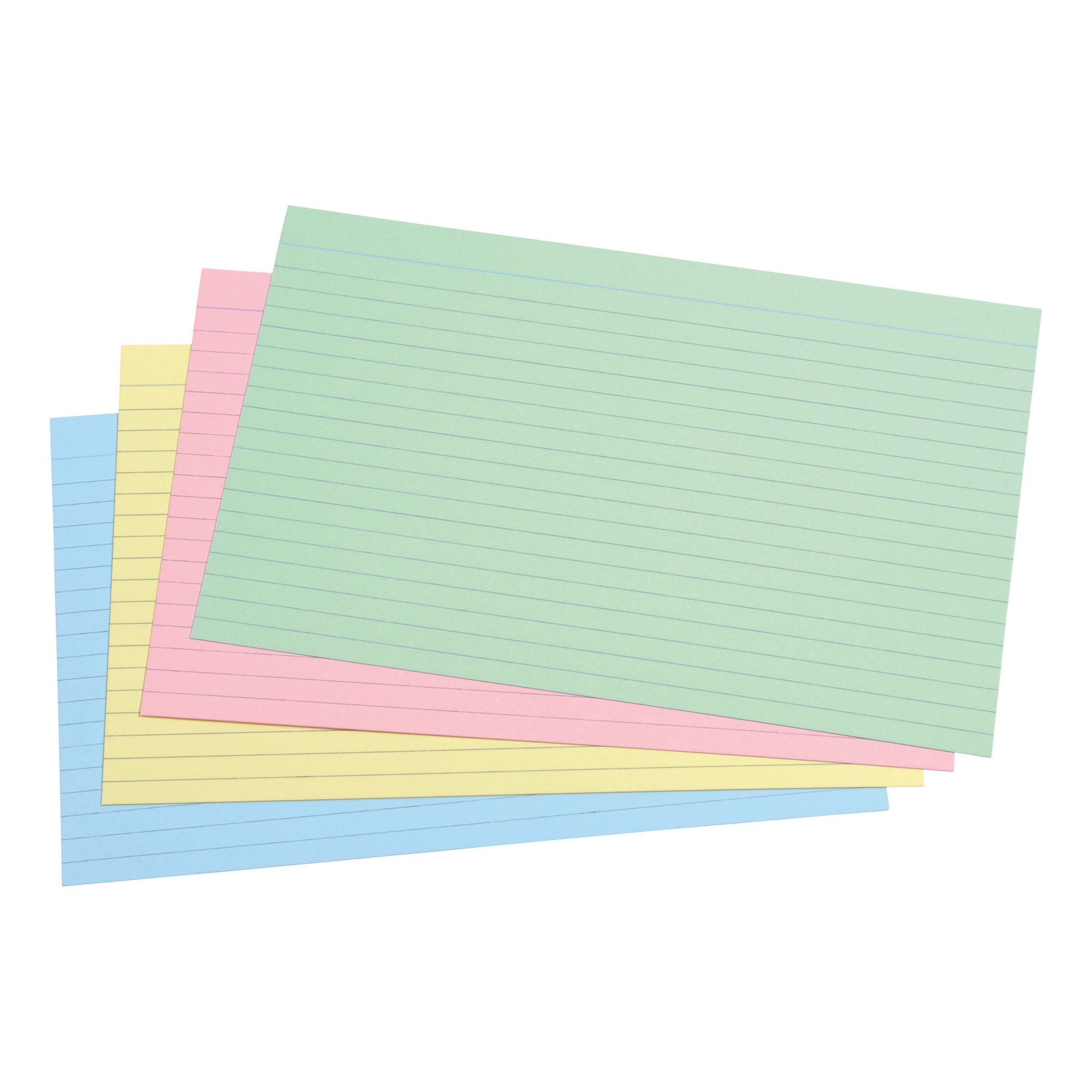 5 Star Office Record Cards Ruled Both Sides 8x5in 203x127mm Assorted Pack 100