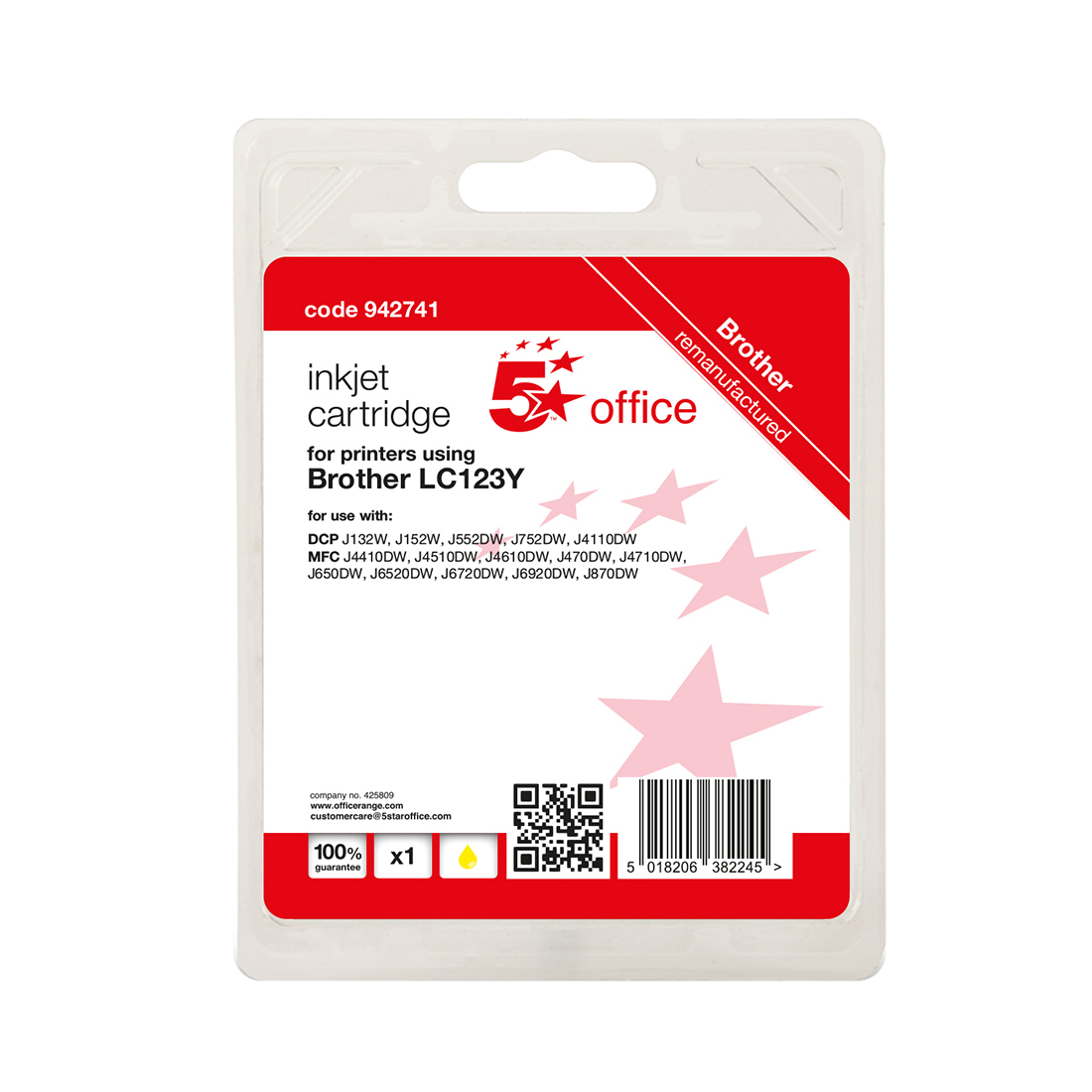 5 Star Office Remanufactured Inkjet Cartridge Page Life Yellow 600pp Brother LC123Y Alternative