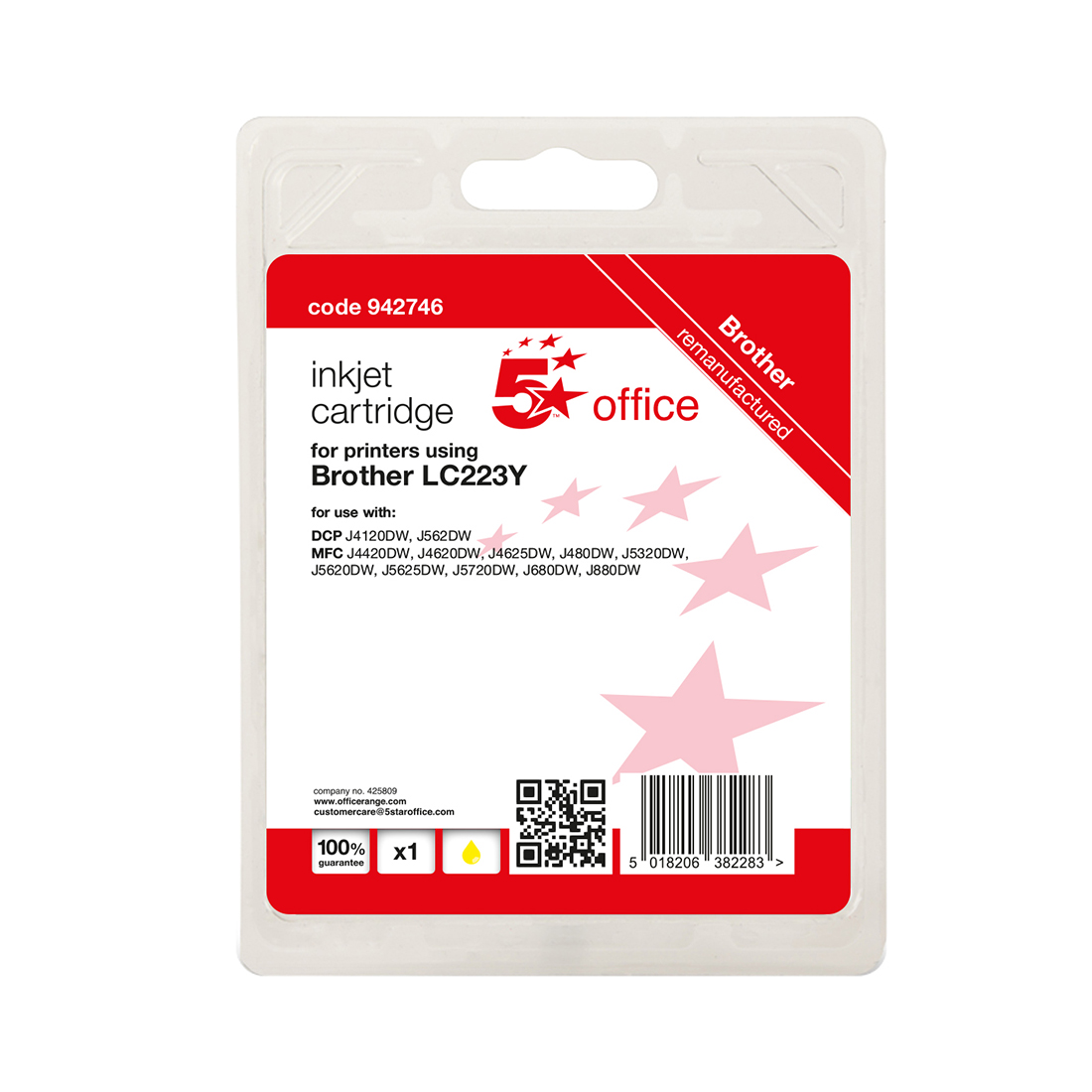 5 Star Office Remanufactured Inkjet Cartridge Page Life Yellow 550pp Brother LC223Y Alternative
