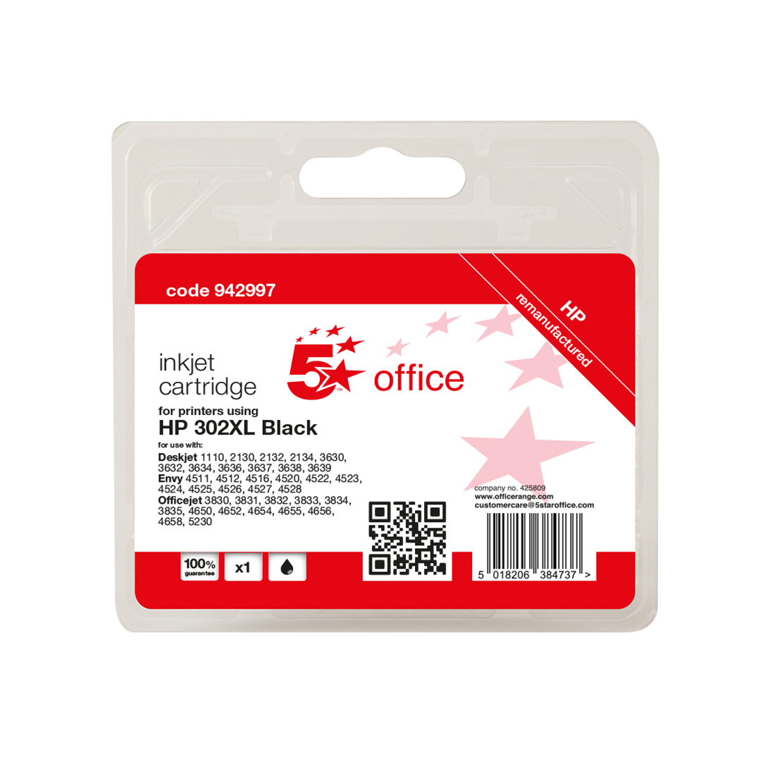 5 Star Office Remanufactured Inkjet Cartridge Page Life Black 480pp HP No.302XL F6U68AE Alternative