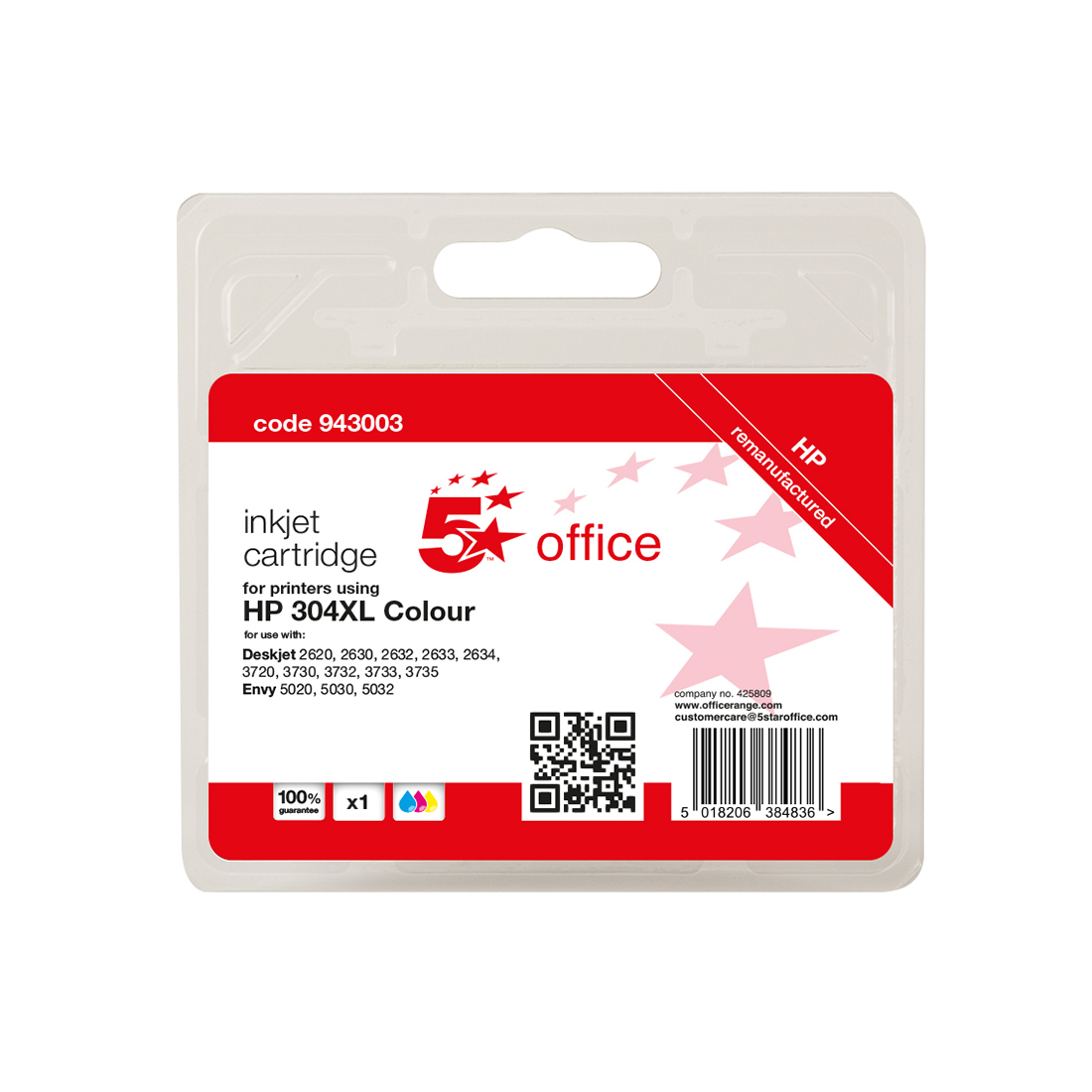 5 Star Office Reman Inkjet Cartridge Page Life Tri-Colour 300pp HP No.304XL N9K07AE Alternative
