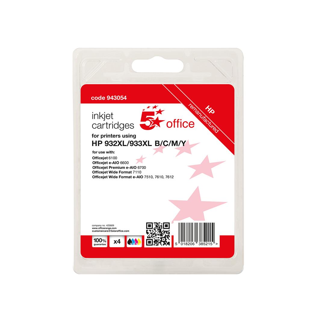 5 Star Office Reman Inkjet Cart Page Life Bk/C/M/Y 1000pp [HP No.932XL/933XL C2P42AE Alternative][Pk 4]