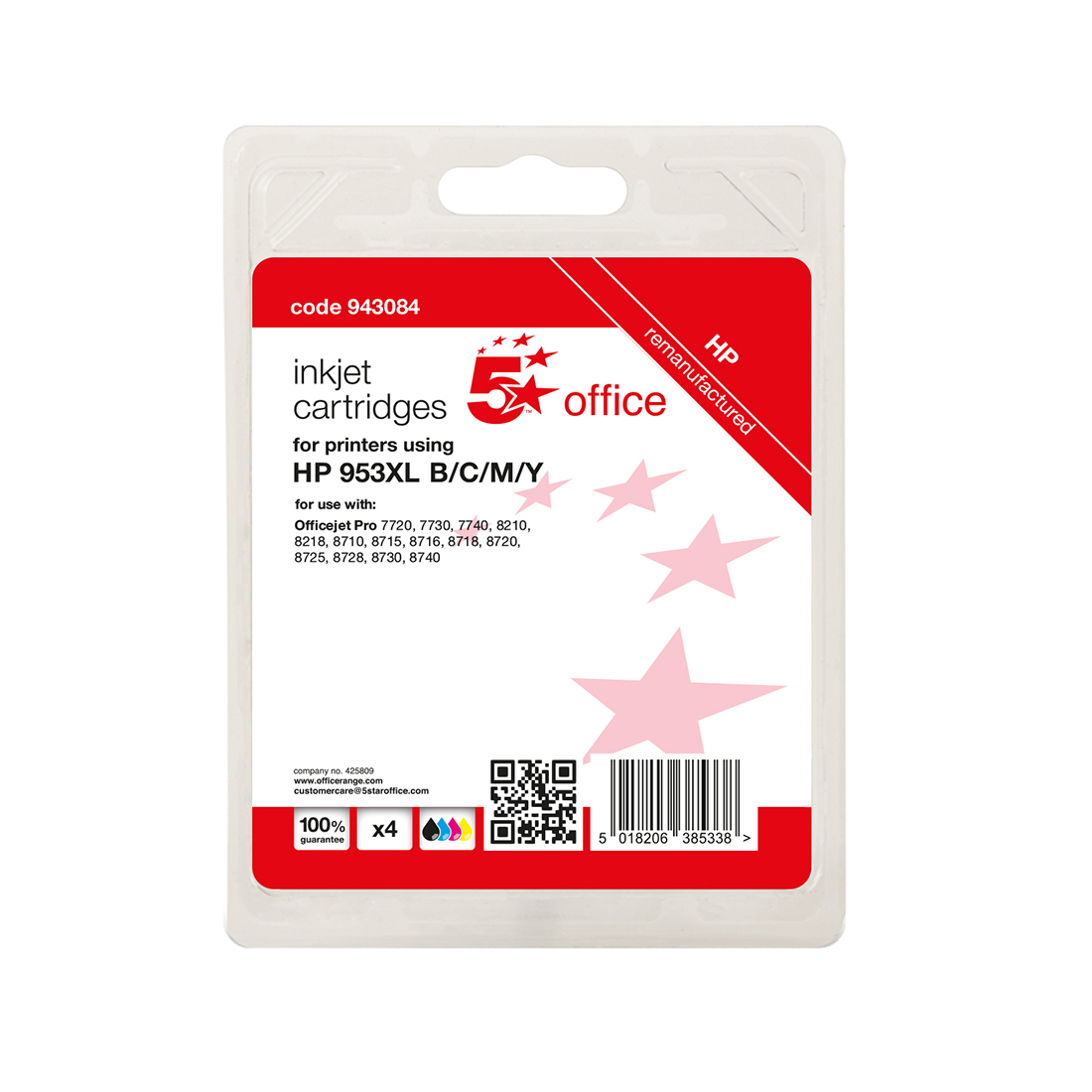 5 Star Office Reman Inkjet Cartridge Page Life C/M/Y 1600pp [HP No.953XL 1CC21AE Alternative] [Pack 3]