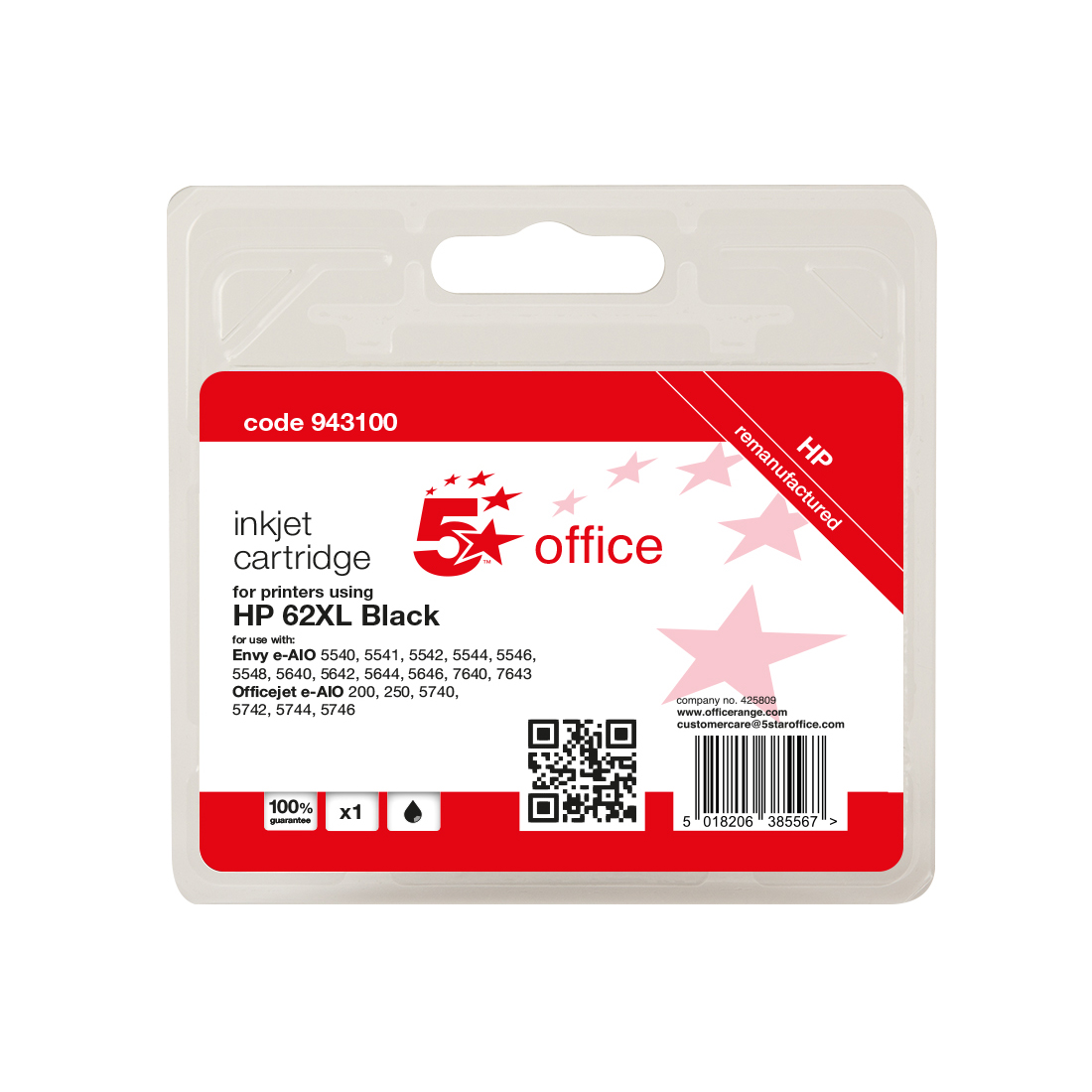 Inkjet Cartridges 5 Star Office Remanufactured Inkjet Cartridge Page Life Black 600pp HP No.62XL C2P05AE Alternative