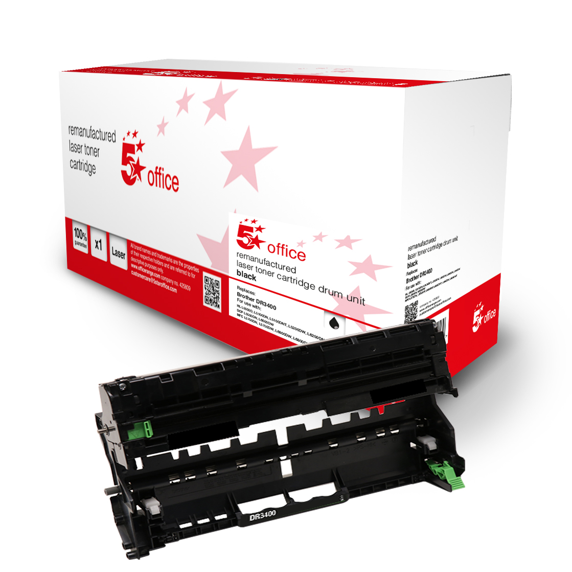 Laser Toner Cartridges 5 Star Office Remanufactured Laser Drum Page Life Black 50000pp Brother DR3400 Alternative