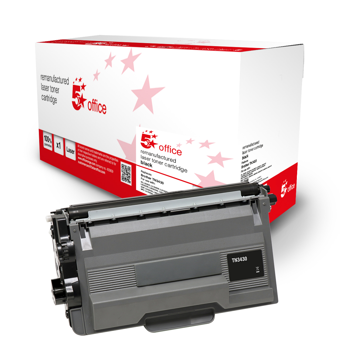 5 Star Office Remanufactured Toner Cartridge Page Life Black 3000pp [Brother TN3430 Alternative]