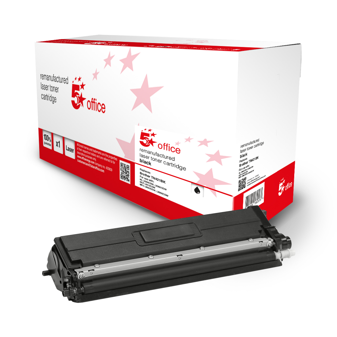 5 Star Office Remanufactured Toner Cartridge Page Life Black 3000pp [Brother TN421BK Alternative]