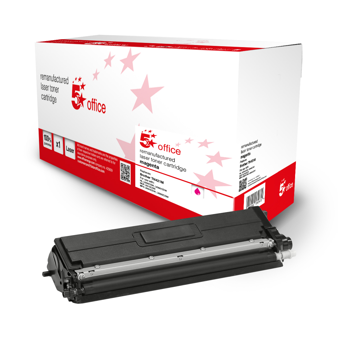 Laser Toner Cartridges 5 Star Office Remanufactured Toner Cartridge Page Life Magenta 1800pp Brother TN421M Alternative