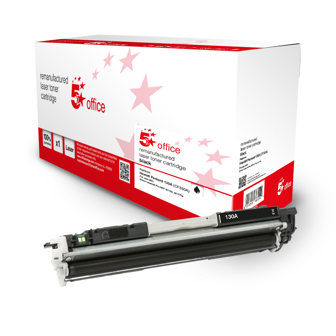5 Star Office Remanufactured Toner Cartridge Page Life Black 1300pp HP 130A CF350A Alternative
