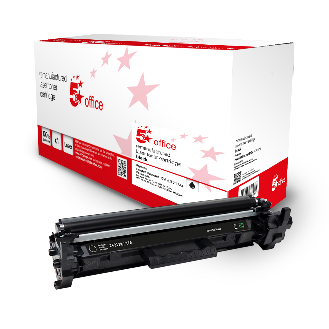 5 Star Office Remanufactured Toner Cartridge Page Life Black 1600pp HP 17A CF217A Alternative