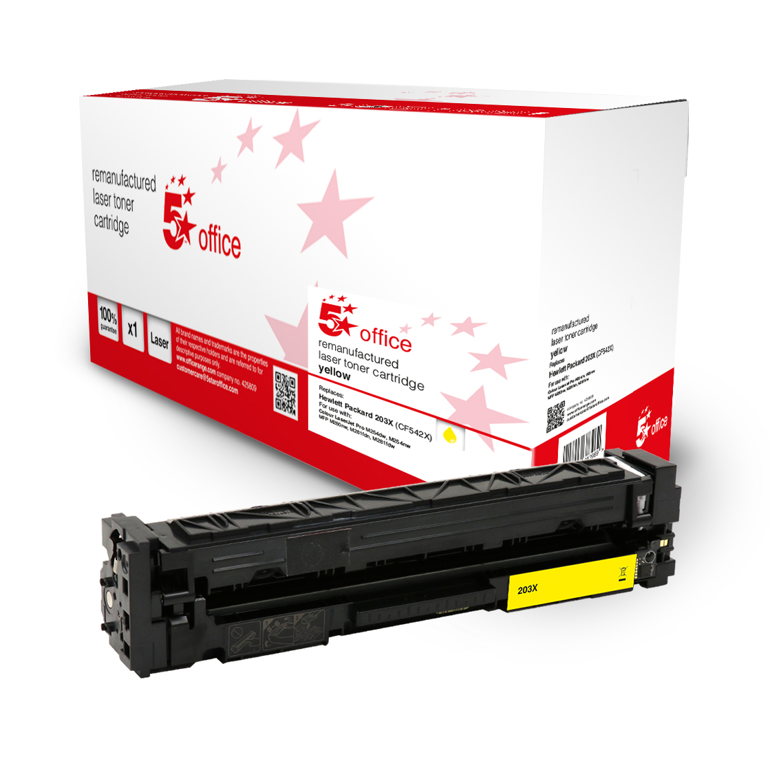 Laser Toner Cartridges 5 Star Office Remanufactured Toner Cartridge Page Life Yellow 2500pp HP 203X CF542X Alternative