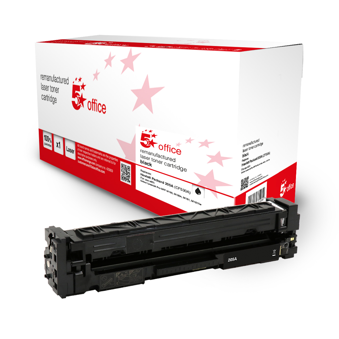 Laser Toner Cartridges 5 Star Office Remanufactured Toner Cartridge Page Life Black 1100pp HP 205A CF530A Alternative