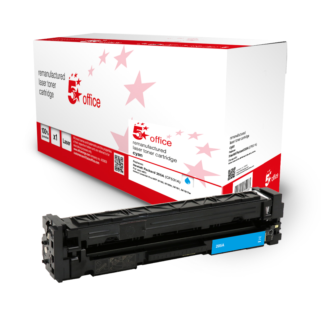 Laser Toner Cartridges 5 Star Office Remanufactured Toner Cartridge Page Life Cyan 900pp HP 205A CF531A Alternative