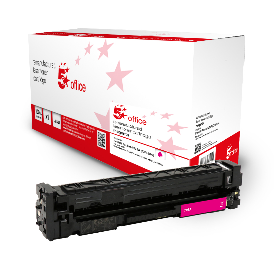 Laser Toner Cartridges 5 Star Office Remanufactured Toner Cartridge Page Life Magenta 900pp HP 205A CF533A Alternative