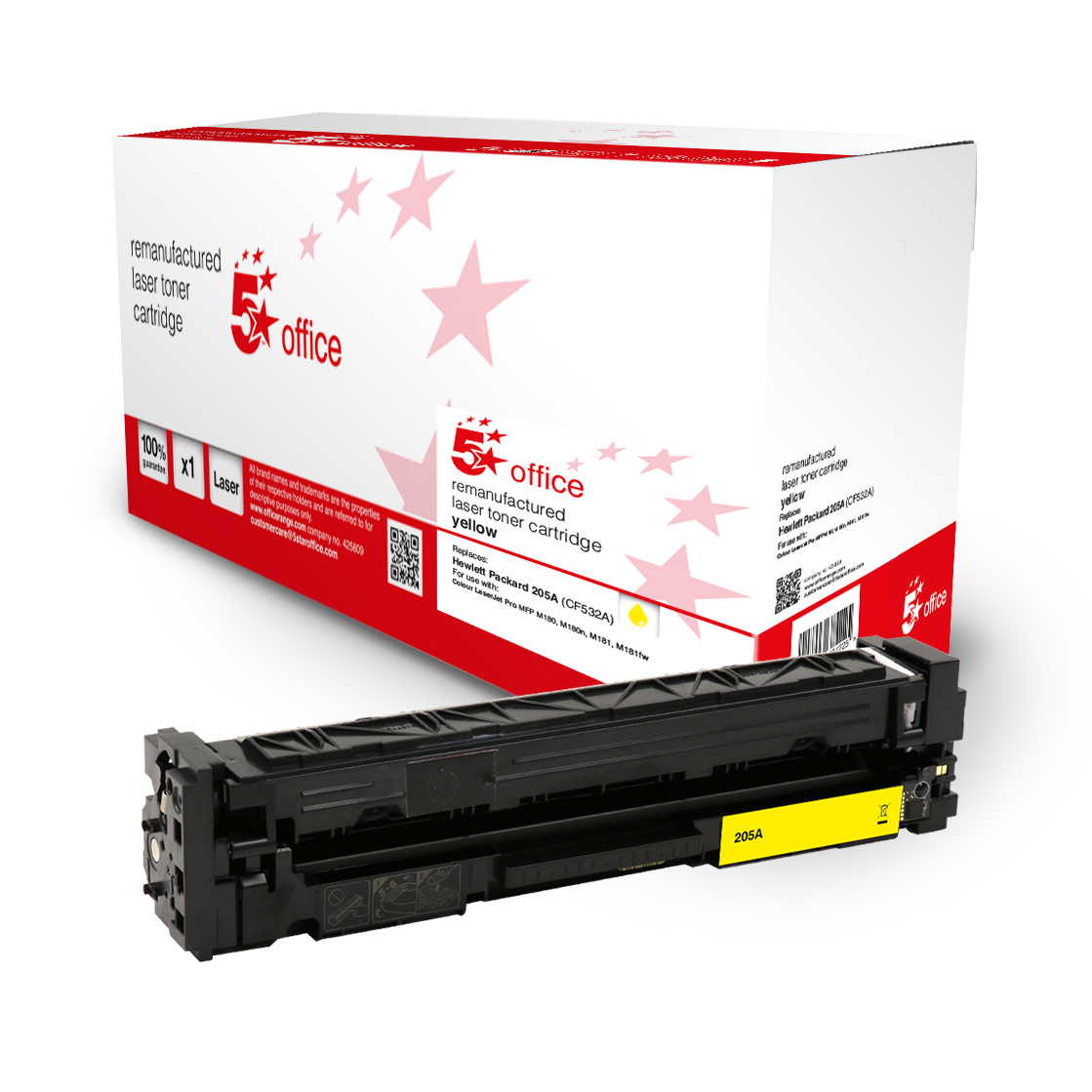 Laser Toner Cartridges 5 Star Office Remanufactured Toner Cartridge Page Life Yellow 900pp HP 205A CF532A Alternative