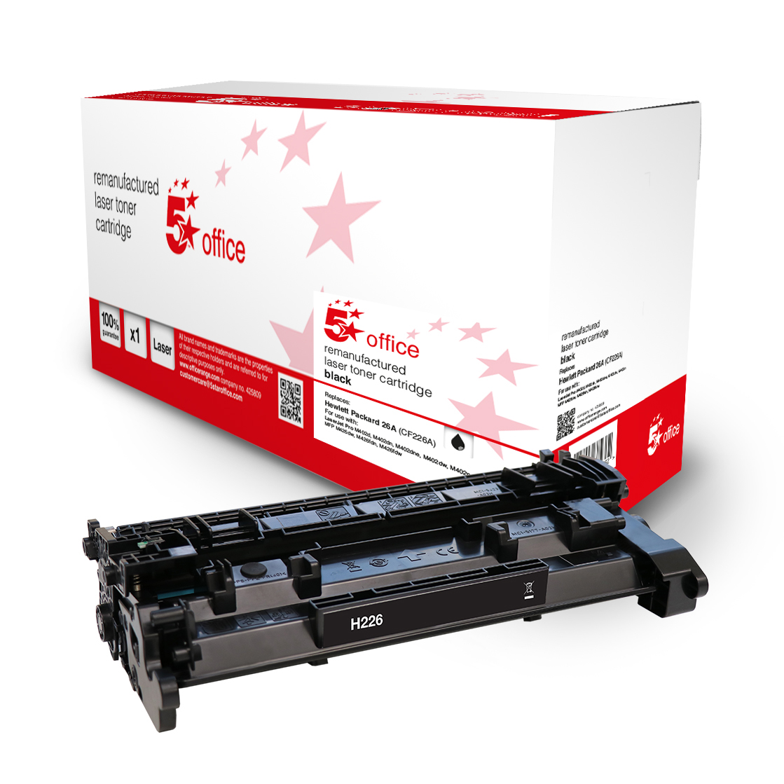 Laser Toner Cartridges 5 Star Office Remanufactured Toner Cartridge Page Life Black 3100pp HP 26A CF226A Alternative