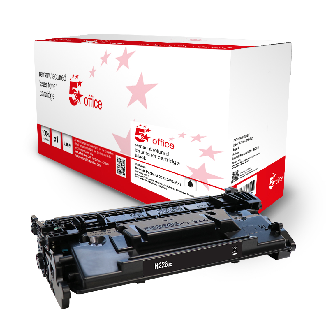 Laser Toner Cartridges 5 Star Office Remanufactured Toner Cartridge Page Life Black 9000pp HP 26X CF226X Alternative