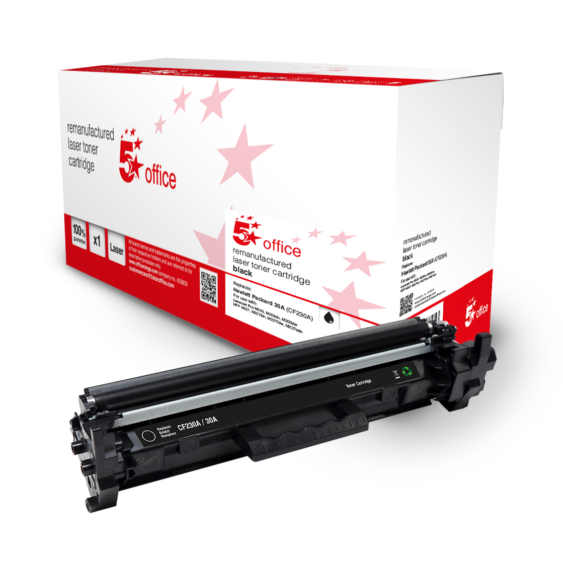 Laser Toner Cartridges 5 Star Office Remanufactured Toner Cartridge Page Life Black 1600pp HP 30A CF230A Alternative