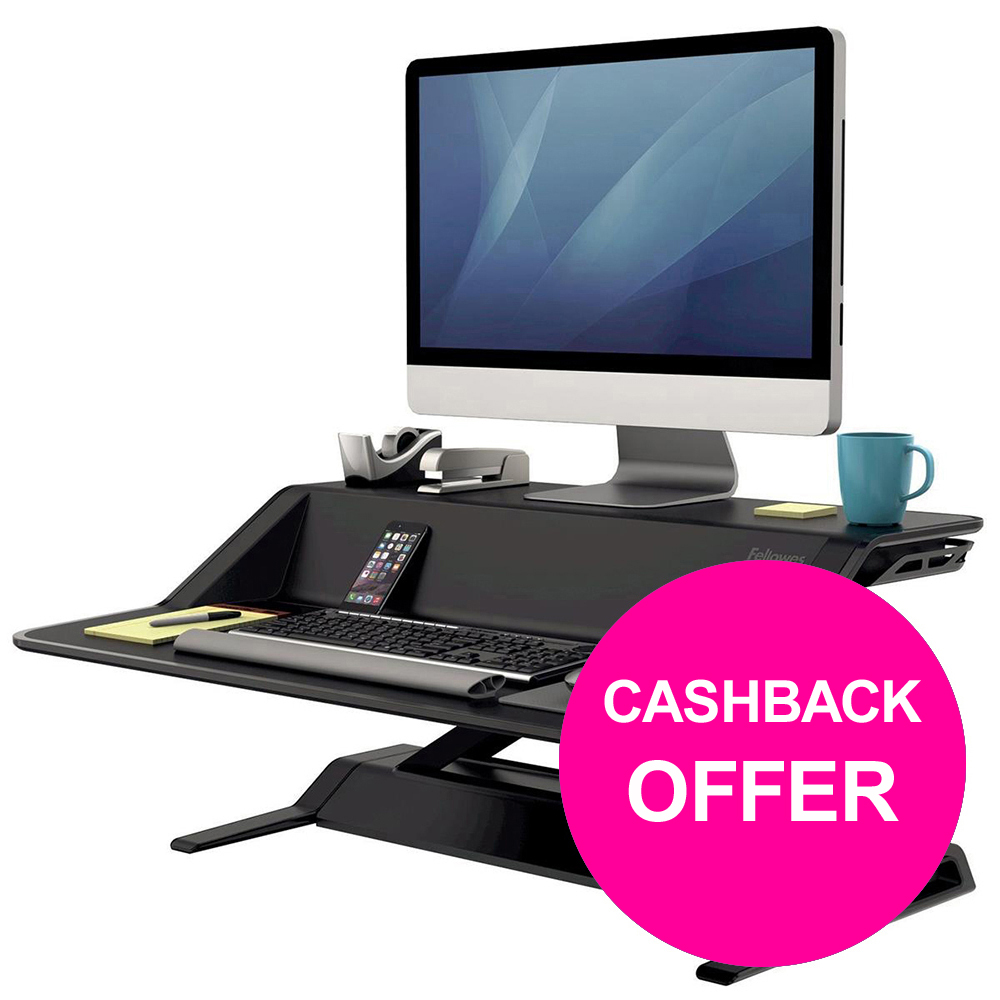 Fellowes Lotus Sit-Stand Workstation Lift Technology Black Ref 7901  [REDEMPTION] Jan-Mar20