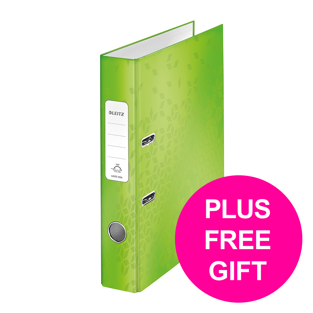Leitz WOW Lever Arch File 80mm Spine for 600 Sheets A4 Green Ref 10050054 [Pack 10][REDEMPTION] Jan-Mar20