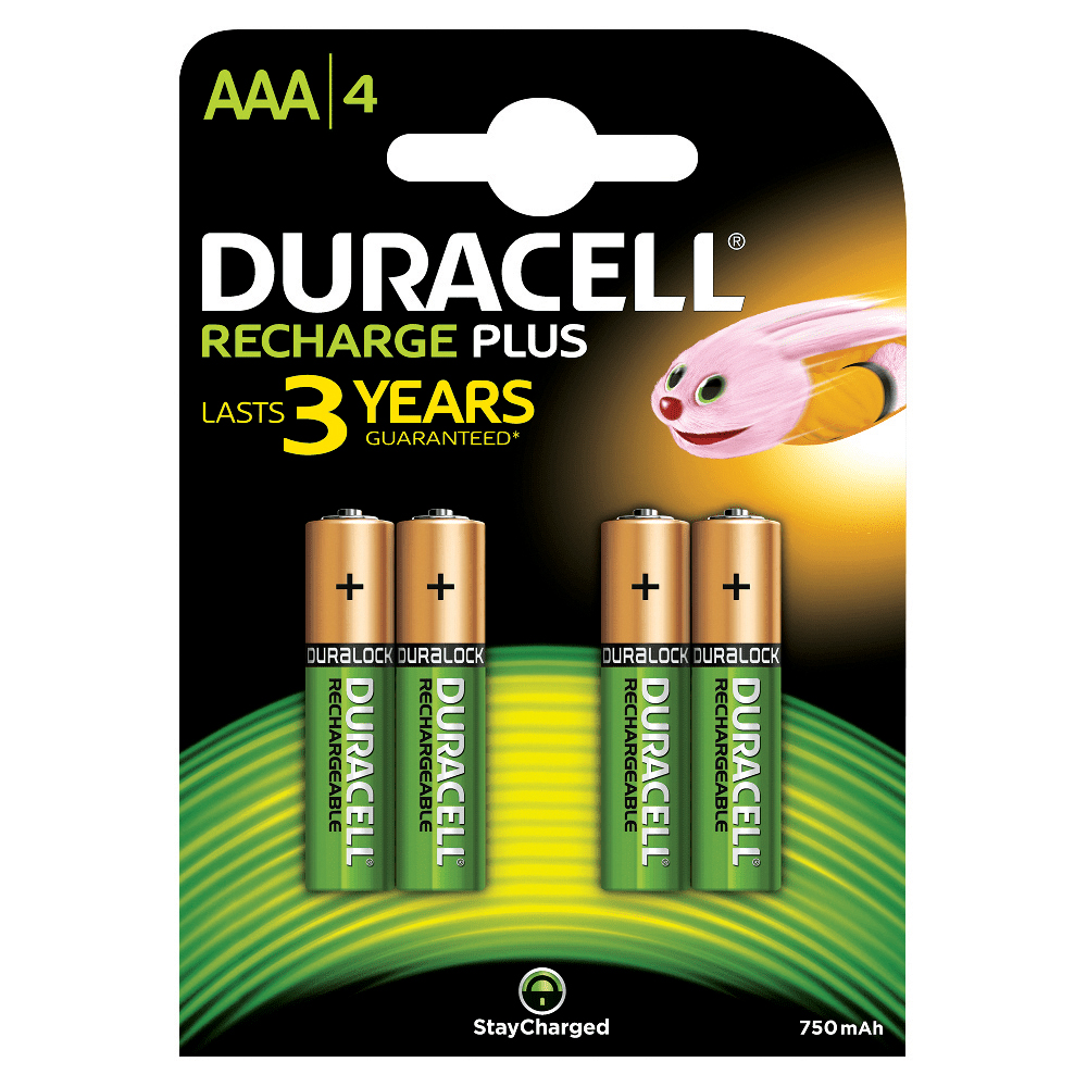 Duracell Battery Rechargeable Accu NiMH 750mAh AAA Ref 81364750 [Pack 4]