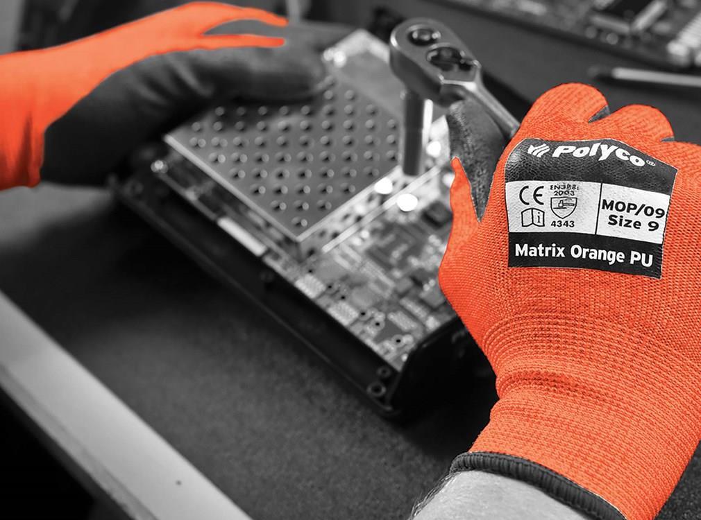 Polyco Safety Gloves Heavy-duty Level 3 PU Coated Size 9 Orange/Black [Pair] Ref MOP/09