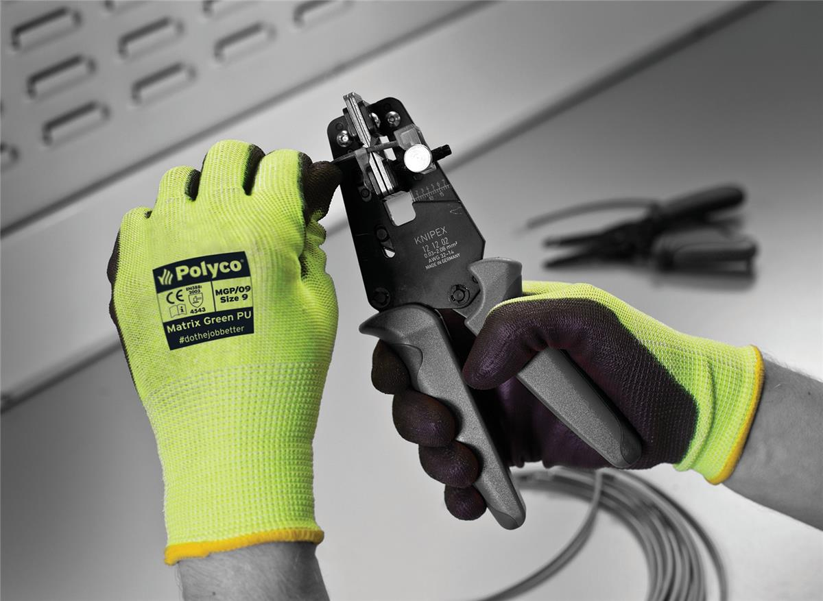 Polyco Safety Gloves PU Coated Size 8 Green/Black [Pair] Ref MGP/08