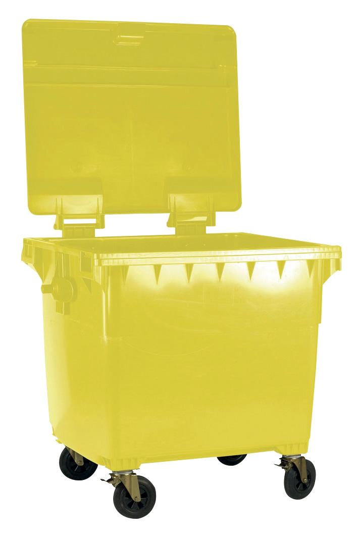 Image for Four Wheeled Bin UV Stabilised Polyethylene 1100 Litres 67kg W1400xD1200xH1450 Yellow