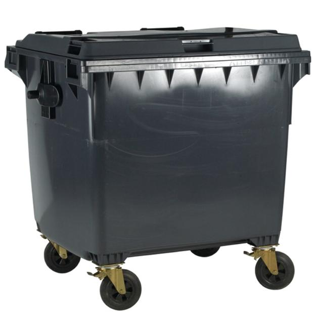 Image for Four Wheeled Bin UV Stabilised Polyethylene 1100 Litres 67kg W1400xD1200xH1450 Grey