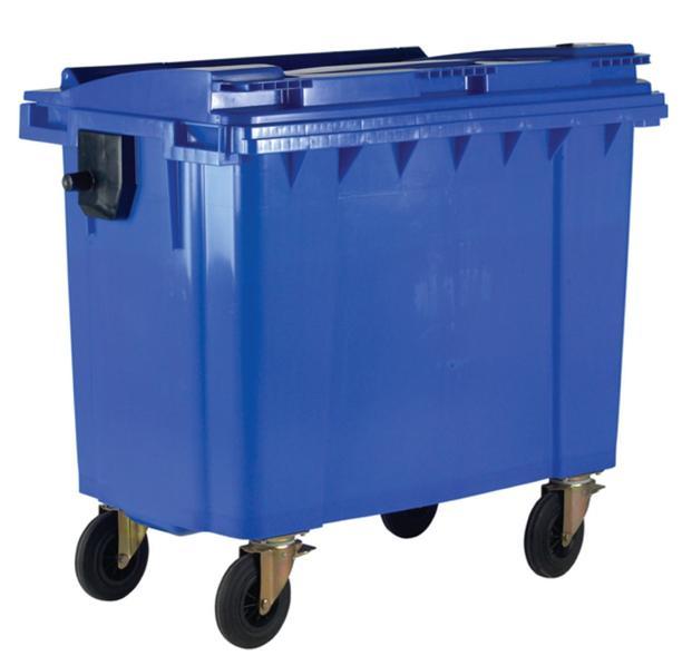 Image for Four Wheeled Bin UV Stabilised Polyethylene 1100 Litres 67kg W1400xD1200xH1450 Blue