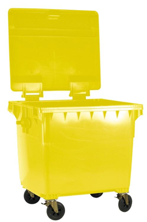 Image for Four Wheeled Bin UV Stabilised Polyethylene 770 Litres 55kg W1350xD770xH1360mm Yellow
