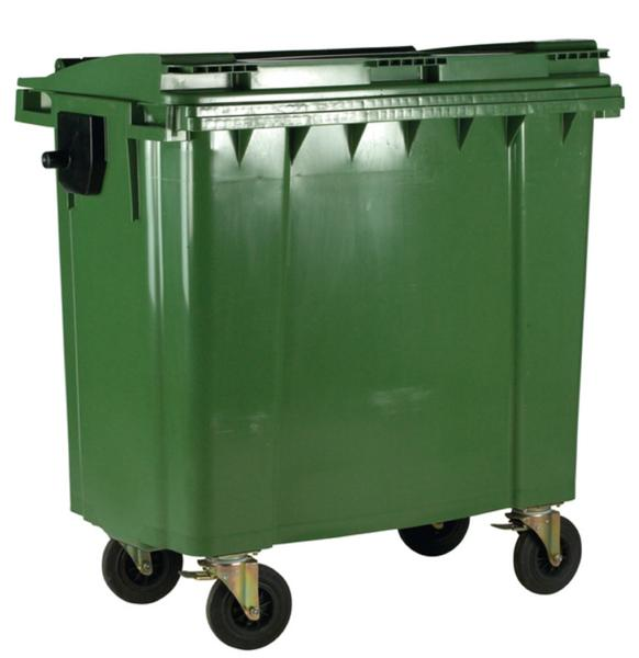 Image for Four Wheeled Bin UV Stabilised Polyethylene 770 Litres 55kg W1350xD770xH1360mm Green