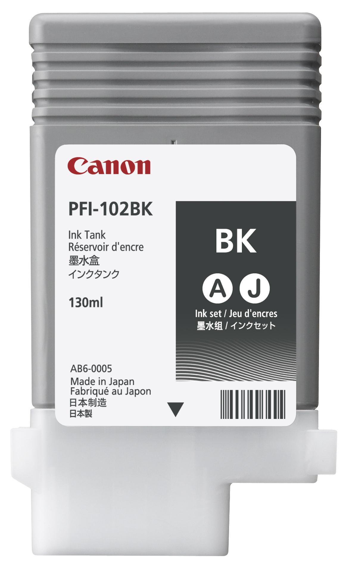 Canon PFI-102BK Ink Tank 130ml Black Ref 0895B001AA