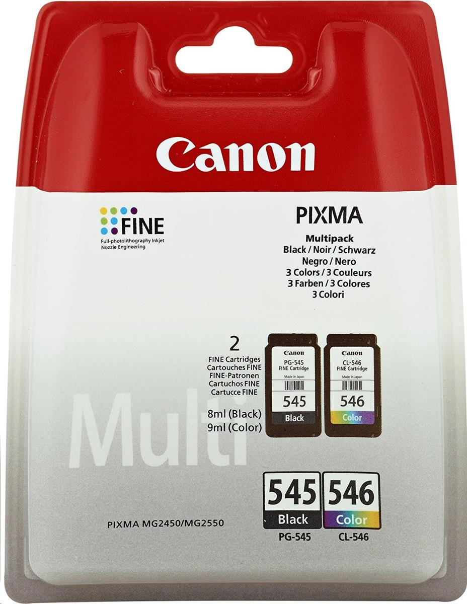Canon PG545 & CL546 Inkjet Page Life 180pp 8ml Black&Colour Ref 8287B005 [Pack 2]