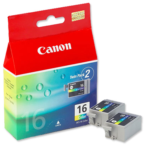 Canon BCI-16 Ink Cartridge BCI-16CL Page Life 199 pages Tri-Colour Ref 9818A002 [Pack 2]