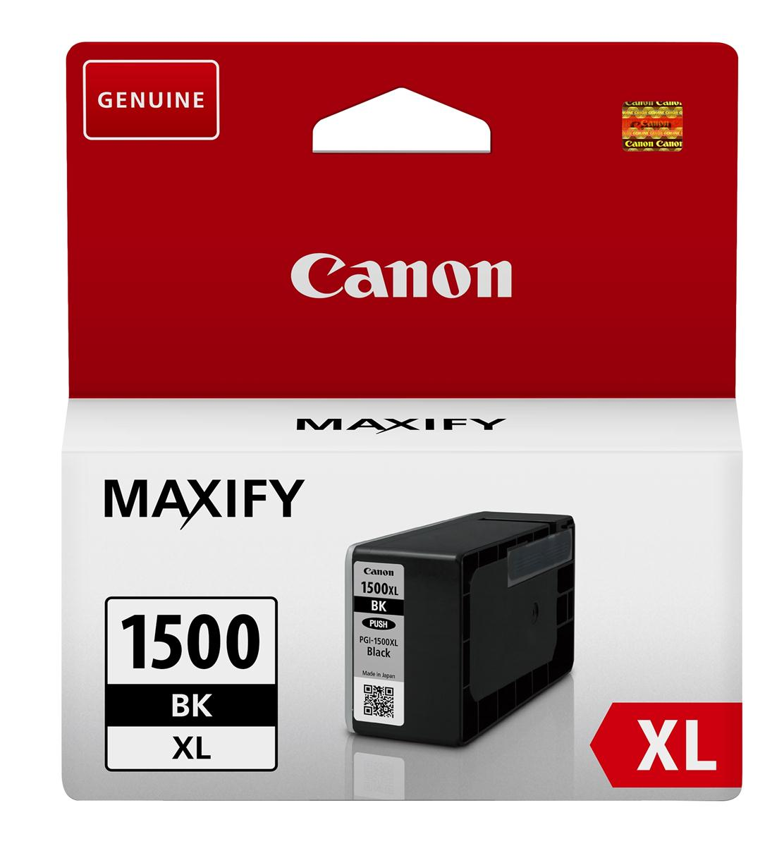 Canon PGI-1500XLBLK Inkjet Cartridge High Yield 34.7ml Page Life 1200pp Black Ref 9182B001AA