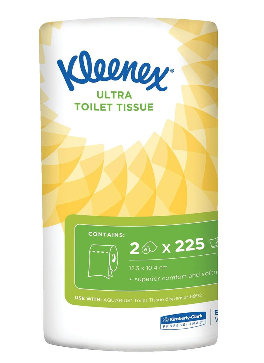 Kleenex Small Toilet Roll 2-ply 2 Rolls of 225 Sheets Ref 8474 [Pack 24]