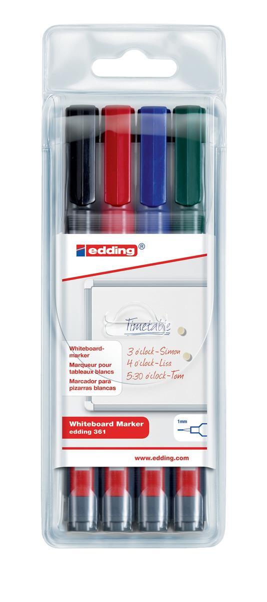 Image for Edding 361/4S Whiteboard Marker Bullet Tip 1mm Line Assorted Ref 4-361-4 [Pack 4]