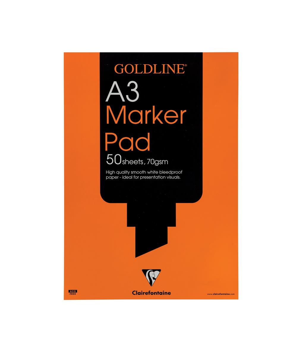 Image for Goldline Marker Pad Bleedproof 70gsm 50 Sheets A3 White Ref GPB1A3Z [Pack 5]