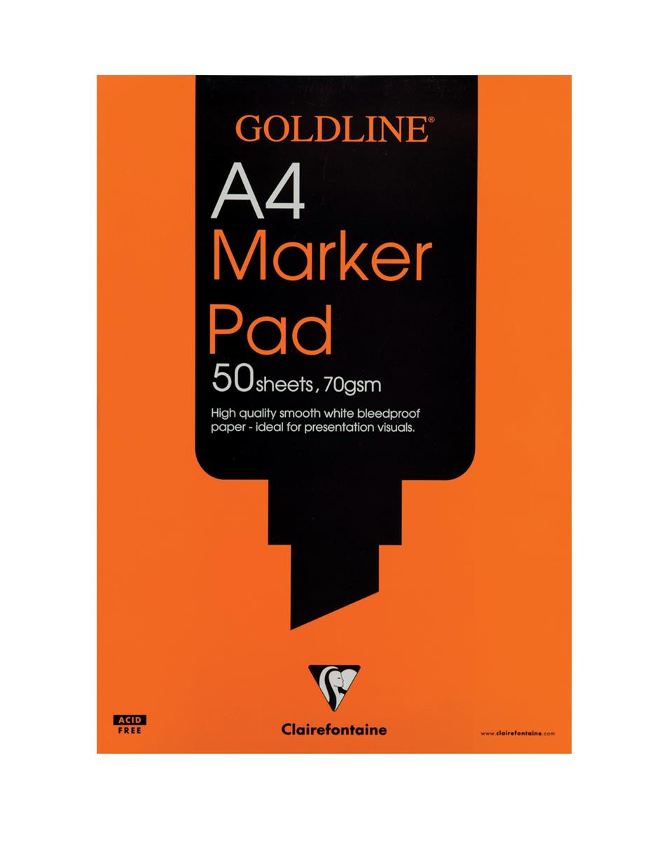 Image for Goldline Marker Pad Bleedproof 70gsm 50 Sheets A4 White Ref GPB1A4Z [Pack 5]