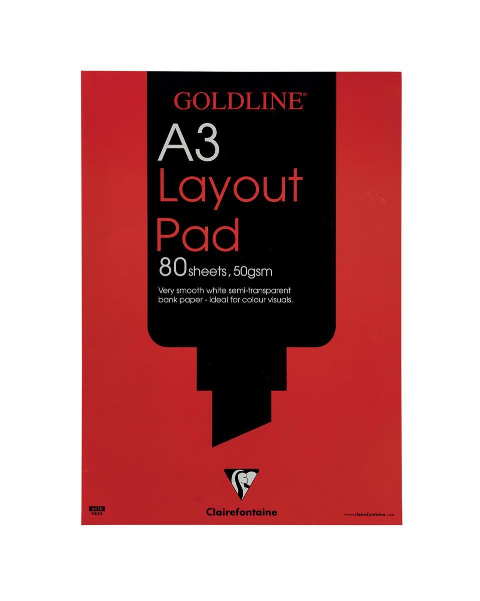 Image for Goldline Layout Pad Bank Paper Acid-free 50gsm 80 Sheets A3 Ref GPL1A3Z [Pack 5]