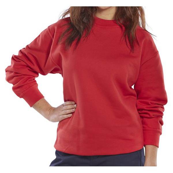 Click Workwear Sweatshirt Polycotton 300gsm L Red Ref CLPCSREL *Up to 3 Day Leadtime*