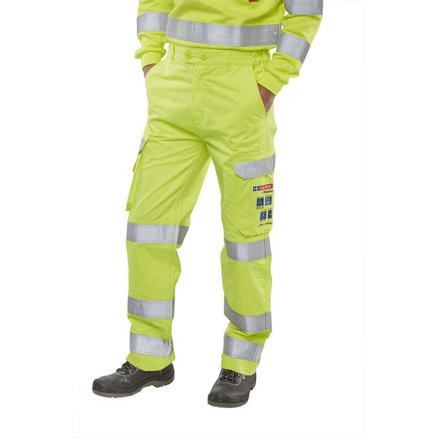 Fire Retardant / Flame Resistant Click Arc Flash Trousers Fire Retardant Hi-Vis Yellow/Navy 32 Ref CARC5SY32 *Up to 3 Day Leadtime*