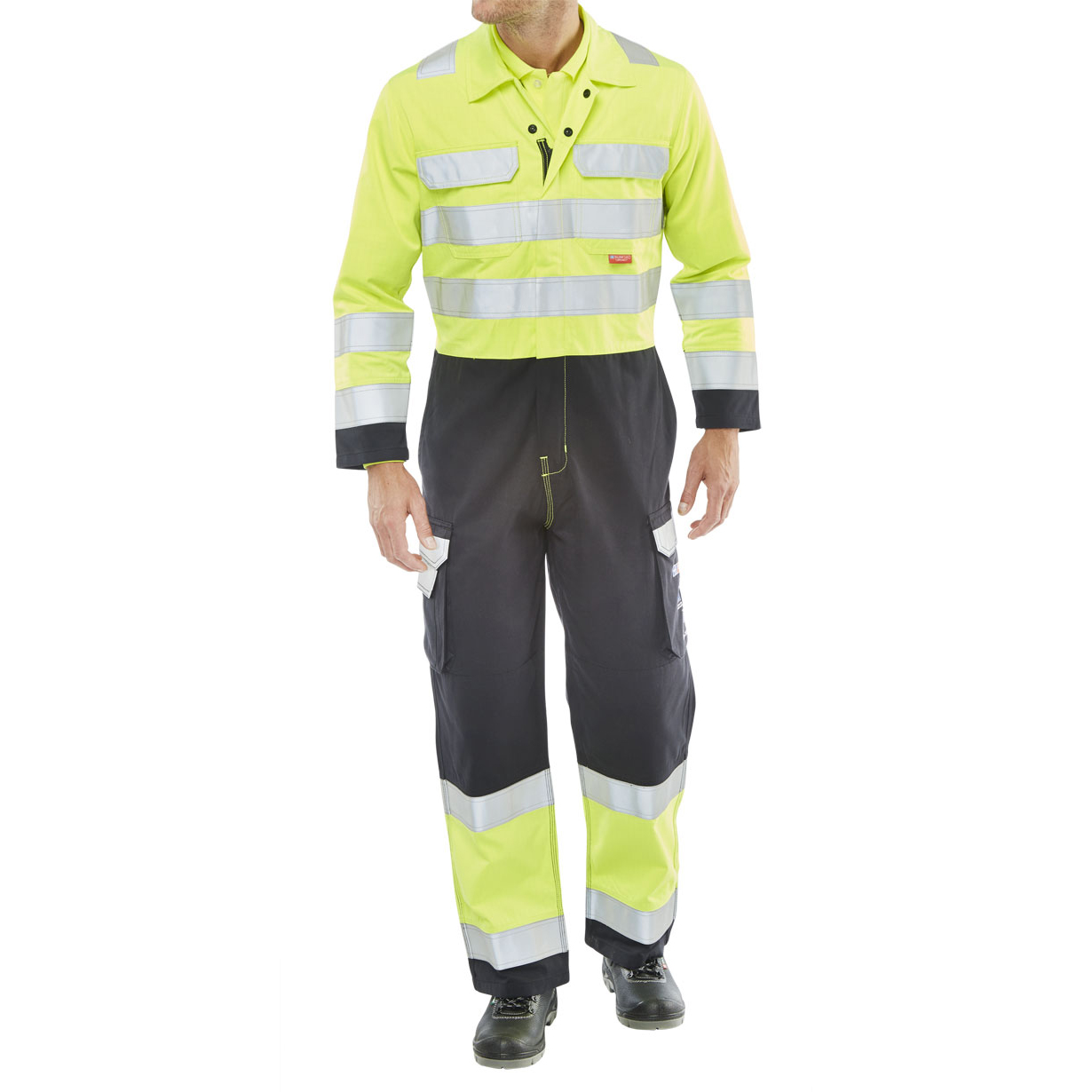 Click Arc Flash Coveralls Hi-Vis Two Tone Size 52 Yellow/Navy Ref CARC7SYN52 *Up to 3 Day Leadtime*