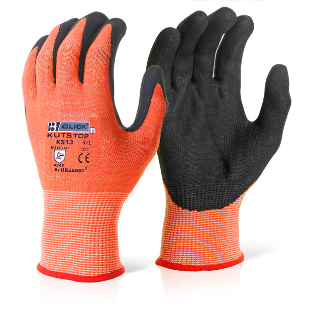 Limitless Click Kutstop Micro Foam Nitrile Amber Cut Level 3 Amber XL Pack 10 Ref KS13XL *Up to 3 Day Leadtime*