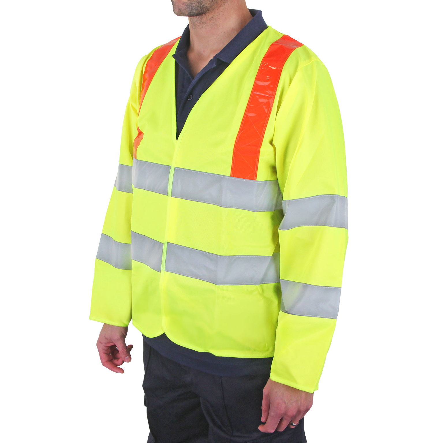 B-Seen High Visibility Long Sleeved Jerkin Large Saturn Yellow/Red Ref PKJENG(RT)L *Up to 3 Day Leadtime*