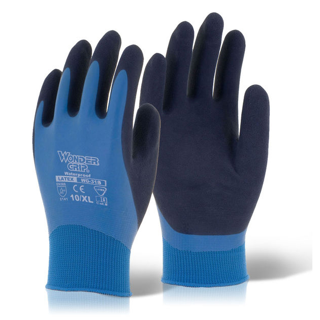 Wonder Grip Water resistant Aqua Glove Medium Blue Ref WG318M [Pack 12] *Up to 3 Day Leadtime*