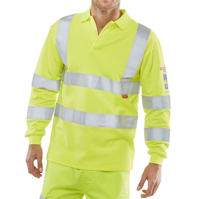 T-Shirts Click Arc Flash Polo L-Sleeve Hi-Vis Fire Retardant 5XL Yellow Ref CARC2HVSY5XL *Up to 3 Day Leadtime*