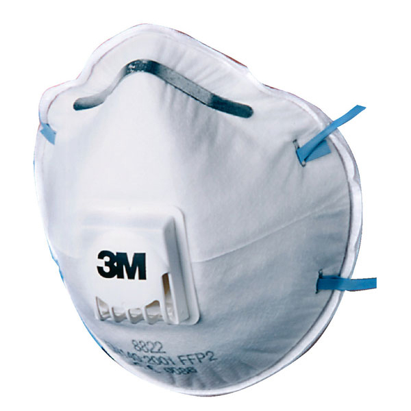 3M Mask FFP2V Cup-shaped Respirator White Ref 8822SP [Pack 5] Up to 3 Day Leadtime