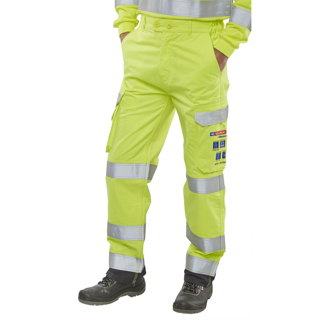 Ladies Click Arc Flash Trousers Fire Retardant Hi-Vis Yellow/Navy 50-Tall Ref CARC5SYN50T *Up to 3 Day Leadtime*